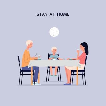 Blijf thuis banner met familie stripfiguren die samen thuis dineren