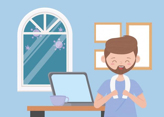 Blijf thuis, bebaarde man met laptop en koffiekopje in de kamer