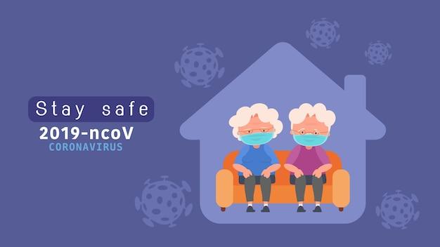 Blijf thuis bejaarde echtpaar quarantaine voor het verminderen van het risico op infectie