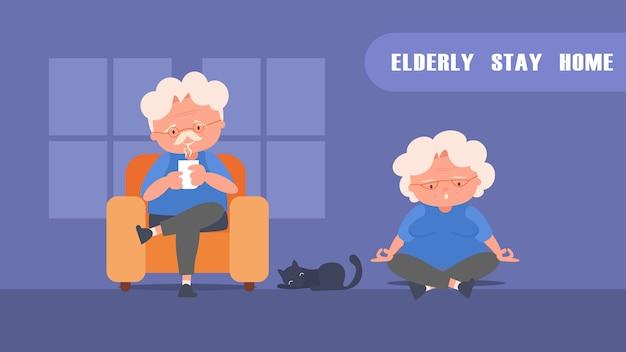 Blijf thuis bejaarde echtpaar rust en beweging verminder het risico op infectie