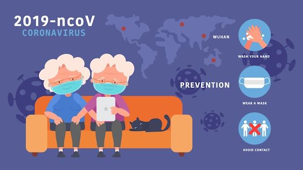 Blijf thuis bejaarde echtpaar vind internetkennis verminder het risico op infectie