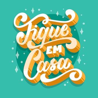 Blijf thuis belettering in het portugees