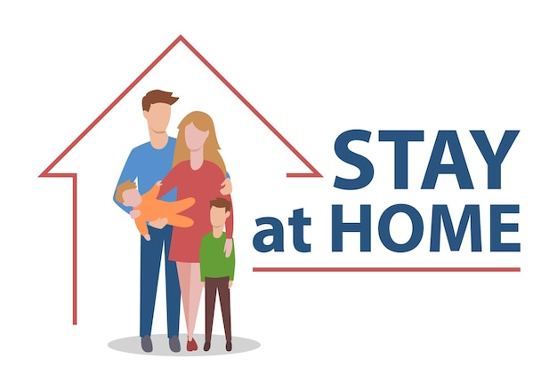 Blijf thuis bij familie. roep mensen op om quarantaine tegen virussen na te leven. vector illustratie.