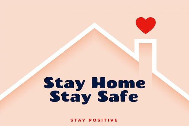 Blijf thuis blijf veilig bewustzijn achtergrondontwerp