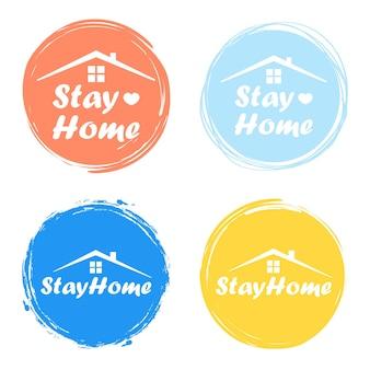 Blijf thuis, blijf veilig - typografieposter met tekst voor zelfquarantainetijden. vector illustratie.