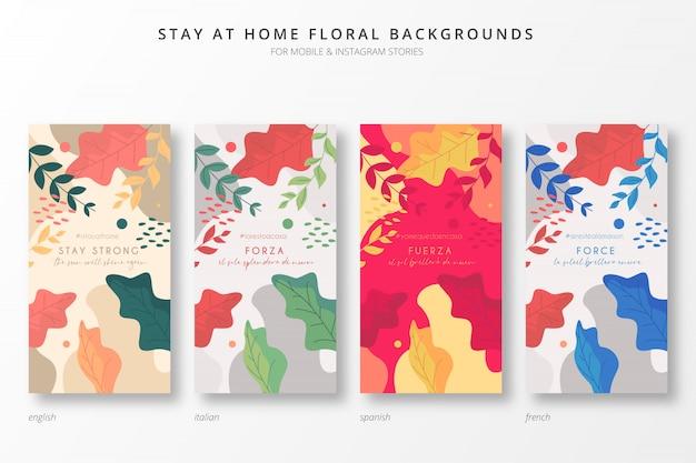 Blijf thuis bloemenachtergrond voor insta-verhalen
