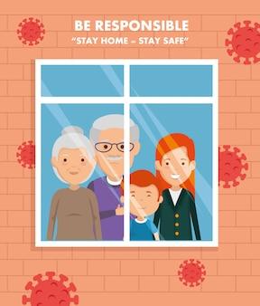 Blijf thuis campagne met familie in raam