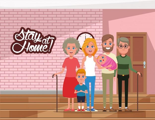 Blijf thuis campagne met familieleden