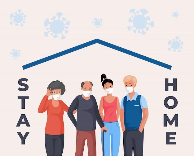 Blijf thuis cartoon concept. mensen in gezichtsmaskers staan samen. oude en jonge mannen en vrouwen samen.