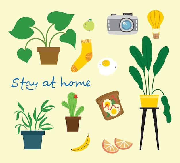 Blijf thuis collectie, set van geïsoleerde illustraties, scandinavische hygge-stijl, vlakke stijl