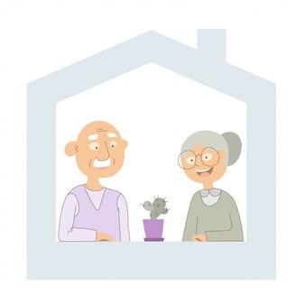 Blijf thuis concept illustratie - opa en oma om thuis te zitten