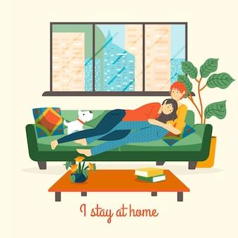 Blijf thuis concept illustratie