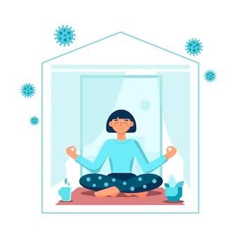 Blijf thuis concept meisje in meditatie yoga in pose lotus thuis geïsoleerd op witte achtergrond