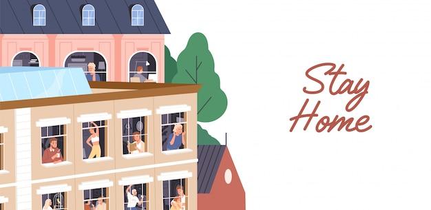 Blijf thuis concept. mensenisolatie, coronavirus quarantaine horizontale banner. mannen en vrouwen brengen tijd door in een appartement tijdens een pandemie. buren in ramen. illustratie in platte cartoon stijl