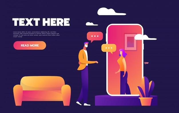 Blijf thuis concept vlakke stijl vectorillustratie. jong koppel bellen en video werken en chatten.
