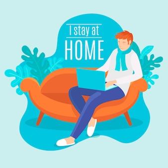 Blijf thuis concept
