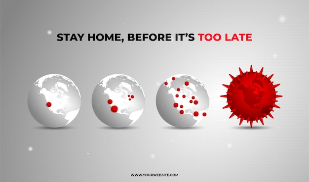 Blijf thuis corona globe