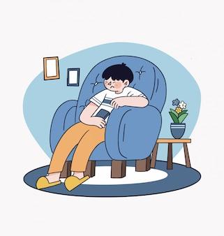 Blijf thuis eenvoudige en schone illustratie