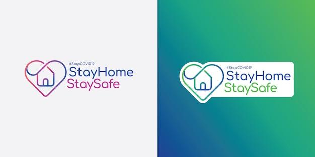 Blijf thuis en blijf veilig logo.