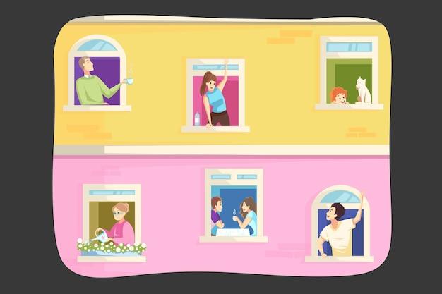 Blijf thuis en isoleer tijdens de covid19-uitbraakillustratie