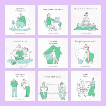 Blijf thuis en red jezelf van de karakterset van een coronaviruspandemie