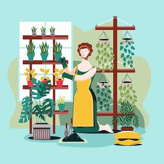Blijf thuis en tuinieren thuis concept
