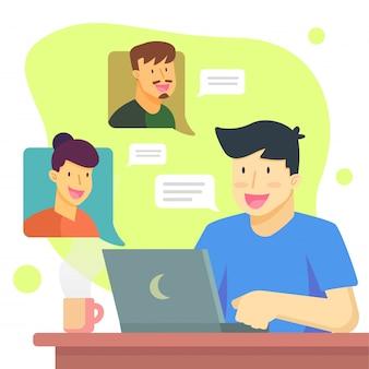 Blijf thuis en videogesprek met vrienden concep ontwerpbanner
