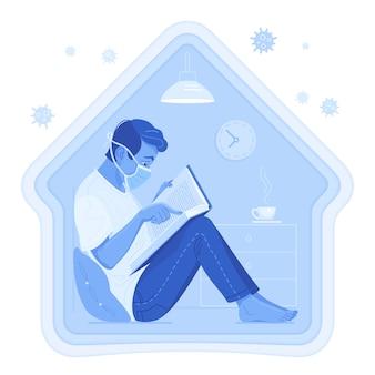 Blijf thuis. enthousiaste man zit op de vloer, leunend op een kussen en leest het boek.