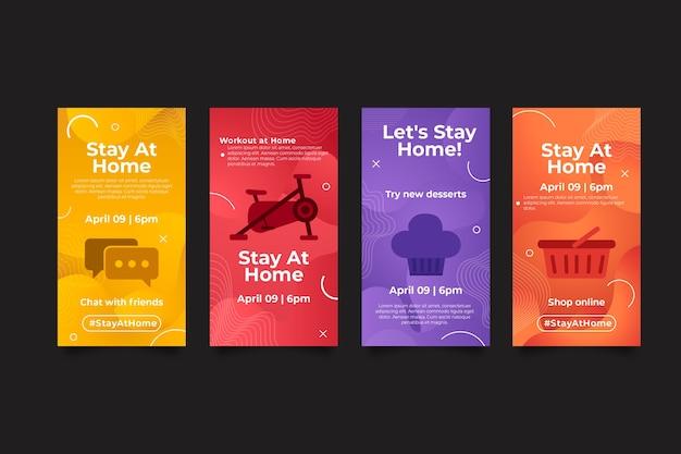 Blijf thuis evenement instagram verhalen set Gratis Vector
