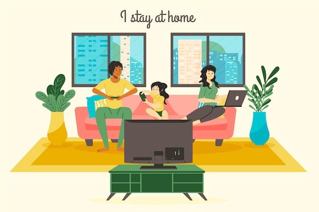 Blijf thuis familie concept