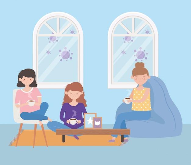 Blijf thuis, groep vrouwen koffie in de woonkamer