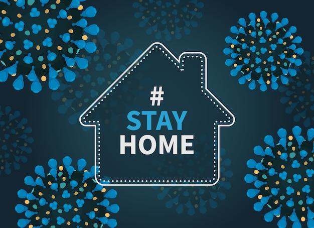 Blijf thuis hashtag-poster met huis en coronavirus