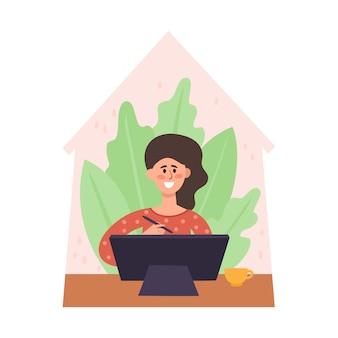 Blijf thuis illustratie, jonge vrouw zitten van bureau en werken op grafische monitor thuis. freelance, thuiswerken, zelfisolatie tegen pandemie van het coronavirus, gezondheidszorg, bescherming in vlakke stijl