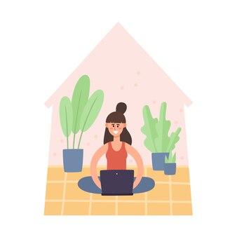 Blijf thuis illustratie, jonge vrouw zittend op de vloer en thuis werken op laptopcomputer. freelance, thuiswerken, zelfisolatie tegen pandemie van het coronavirus, gezondheidszorg, bescherming in vlakke stijl
