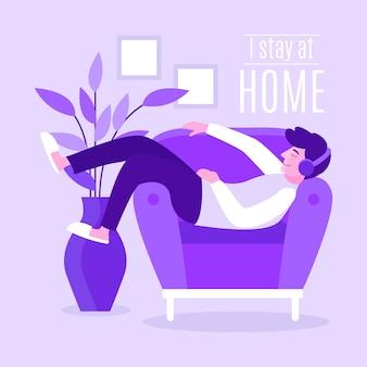 Blijf thuis illustratie