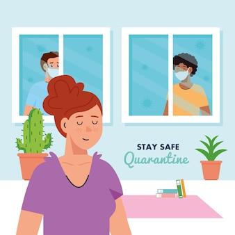 Blijf thuis, in quarantaine of zelfisolatie, vrouw in huis en mannen die uit het raam kijken, blijf veilig quarantaineconcept.
