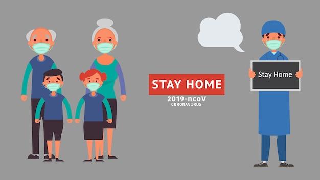 Blijf thuis in quarantaine voor verminder de risico-infectie ziekte concept crisis situatie die we allemaal over de hele wereld ervaren als gevolg van het coronavirus coronavirus 2019-ncov.
