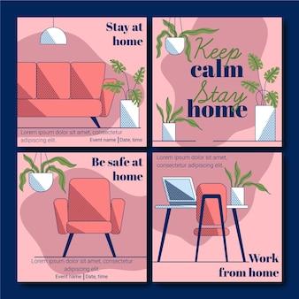 Blijf thuis instagram post collectie