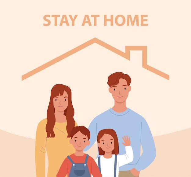 Blijf thuis. jong gezin met twee kinderen blijft thuis. gelukkige mensen binnen huis. illustratie in een vlakke stijl