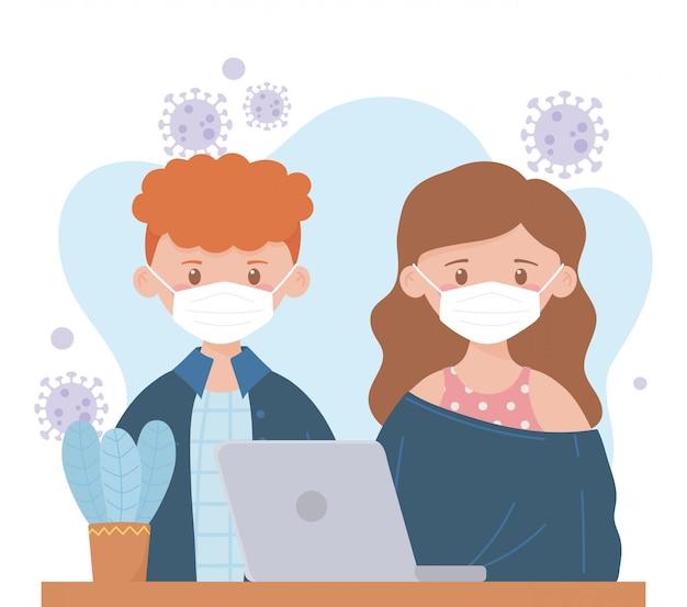 Blijf thuis, jong koppel medisch masker werken met laptop