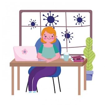 Blijf thuis, jonge vrouw aan het bureau met laptopboeken, quarantainepreventie, covid 19
