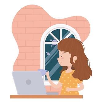 Blijf thuis, jonge vrouw die werkt met een koffiekopje en laptop