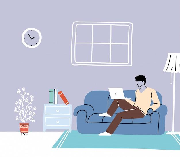 Blijf thuis, jonge vrouw die werkt op laptopcomputer thuis