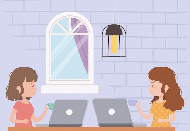 Blijf thuis, jonge vrouwen die werken met laptop en koffiekopjes