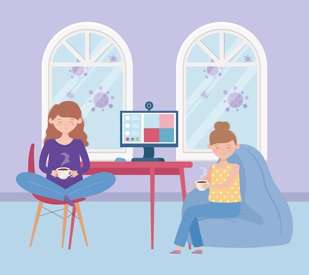 Blijf thuis, jonge vrouwen met een koffiekopje en een computervideogesprek