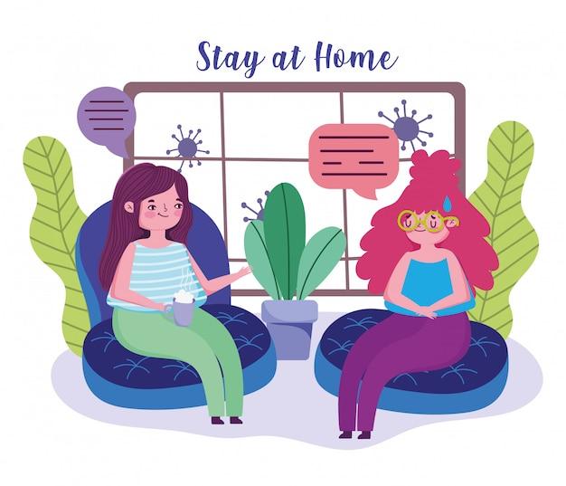 Blijf thuis, jonge vrouwen praten in quarantainepreventie in de woonkamer, covid 19