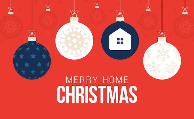Blijf thuis kerst coronavirus uitbraak concept. kerstmis of nieuwjaar conceptpreventie covid-19-ziekte met viruscellen, platte cartoonbal op rode achtergrond