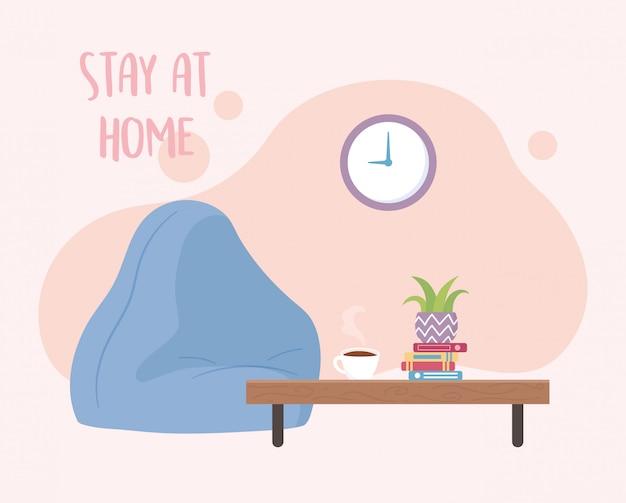 Blijf thuis, kloostafel met stoel en koffiekopje en boeken