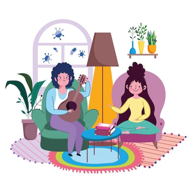 Blijf thuis, koppel in de woonkamer met gitaar spelende muziek cartoon