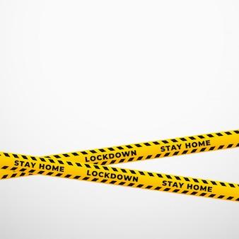 Blijf thuis lockdown gele beperking lint achtergrond